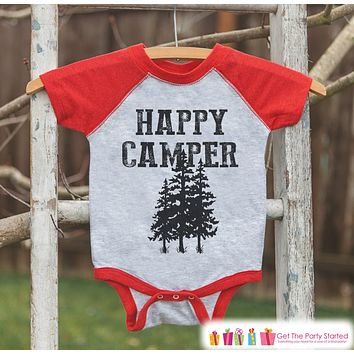 Kid's Happy Camper Tree Outfit - Red Raglan Shirt, Onepiece - Kids Baseball Tee - Camp Shirt for Baby, Toddler, Youth - Adventure Clothing