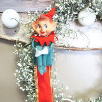 Vintage Kneehugger Green Kneehugger Vintage Elf Christmas Elf Holiday Pixie Door Bells Vintage Elf Ornaments Wreath Accent Holiday Wreath