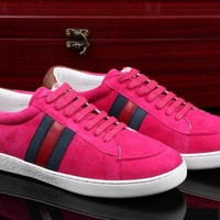 Gucci Women's Suede Leather Fashion Casual Sneakers Shoes