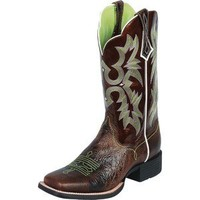 Ladies Ariat Tombstone Chocolate with Green Stitching in Cowboy Boots / Ropers