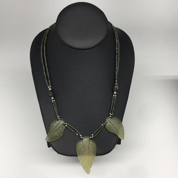 "3 Pendants Green Nephrite Jade Beaded Necklace @Afghanistan,18"", Handmade, NPH34"