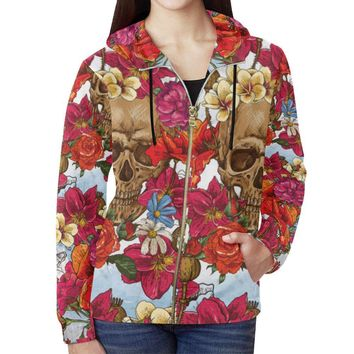 Skull & Roses Design 3 Women's All Over Print Full Zip Hoodie