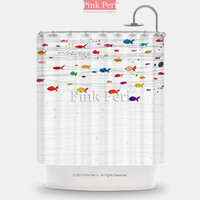 Cute Colorful Fish Pattern Shower Curtain Home & Living Bathroom 203