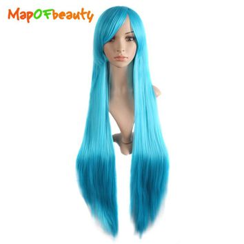 "MapofBeauty 40"" long Straight Cosplay Wigs Oblique Bangs Costume Cartoon Role Hairpiece white blue pink black wig Synthetic Hair"