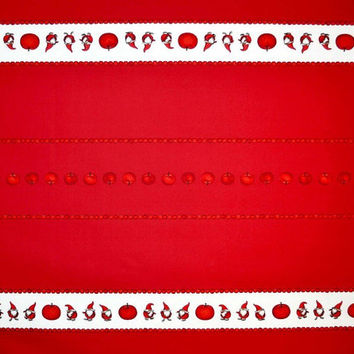 Christmas tablecloth red white Elfs Tomte Apples Scandinavian Design ,also napkins , runner , curtains , pillows available, great GIFT