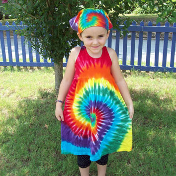 Girls Tie Dye Dress, Baby Tie Dye Dress, Tank Sleeve,  Rainbow Spiral