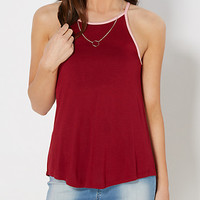 Burgundy High Neck Ringer Tank Top