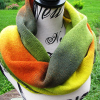 knit scarf autumn, Kauni yarn handmade shawl , knitted stylish triangular scarf shawl of high quality rainbow wool Artistic. boho