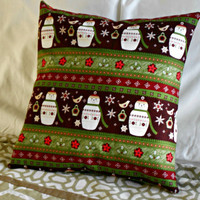 Christmas Pillow Snowman Design Noel Pillow Cover 16 inch