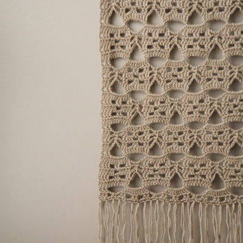 Woven Wall Hanging / Vintage Lace / Modern Tapestry / Fringe Wall Hanging / Bohemian Weaving / Taupe Wool / Rustic Textile / Boho Home Décor