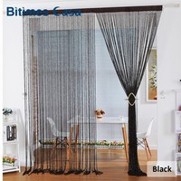 New Style Spiral Solid Color String Curtain Door Curtain Room Divider With Tinsel Tassel High Density 100*200CM Home Decoration