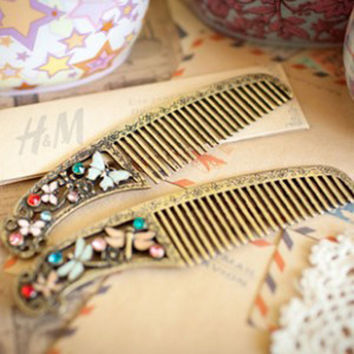 hair combs hairbrush vintage retro butterfly dragonfly design antique rhinestone metal crystal accessories jewelry wedding F040