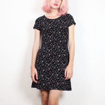 Vintage 1990s Dress Black Pink Floral Print Textured Bandage Dress Tshirt Dress 90s Mini Dress Soft Grunge Bodycon Skater S Small M Medium
