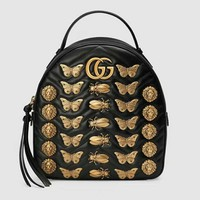"""Gucci"" Fashion Personality Rivet Insect Animal Modeling Travel Backpack Women Double Shoulder Bag Handbag"