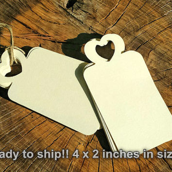 100  Large Die Cut Heart Tags, Ivory Heart Tags, Bride And Groom Advice, Heart Wishing Tags, DIY Wedding Favor Tag (4x2 inches)