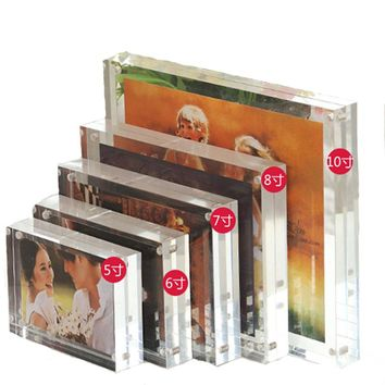 5 Inch 6 Inch 7 Inch 8 Inch Double-faced Crystal Photo Frame Desk Set Acrylic Photo Frame Hot Sale S