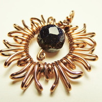 Sun Pendant Blue Goldstone - wrapped in copper wire - handmade by keoops8