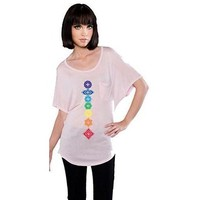 Yoga Clothing for You Womens Floral Chakras Dolman Tee Shirt