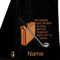 Funny Golf, Golf Towel, Personalized Golf, Gift for Him, Tri-Fold Towel, Funny Golf Gift, Custom Golf, Dad Gift, Groomsmen Gift, Birthday