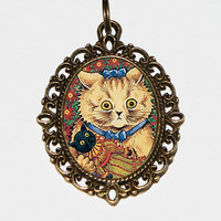 Cat Doll Necklace, Louis Wain, Cat Jewelry, Oval Pendant