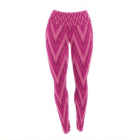 "Amanda Lane ""Berry Pink Chevron"" Magenta Purple Yoga Leggings"