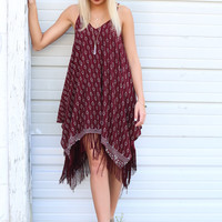 Desert Rose Wine Handkerchief Dress With Fringe Hemline & Contrast Border