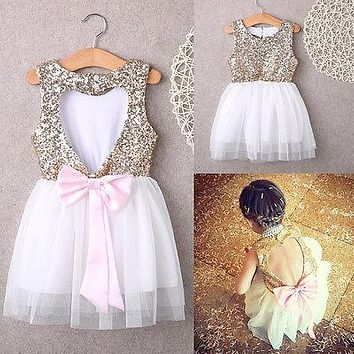 Sequins Baby Dress Bridesmaid Party Backless Girl Dress