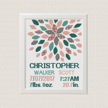 Cross stitch baby birth sampler, birth announcement, modern flower, baby boy girl, instant download, DIY customizable pattern
