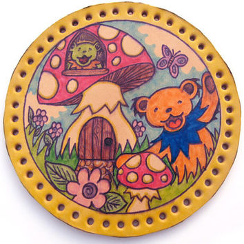 SALE Sew on patch, upcycled leather, Grateful Dead dancing bears, mushroom house, hand drawn, coated with protective lacquer, original art