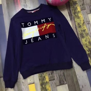 One-nice™ Tommy Jeans Fashion Long Sleeve Pullover Sweatshirt Top Sweater