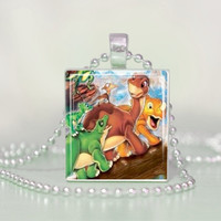 The Land Before Time Little Foot Scrabble Tile Pendant Necklace
