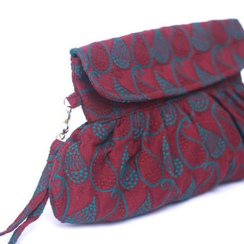 Paisley Embroidered Purse Deep Purple and Teal Blue by Oyeta