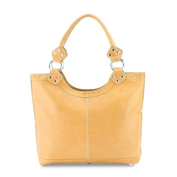 Tan Leather Double Strap Tote Bag