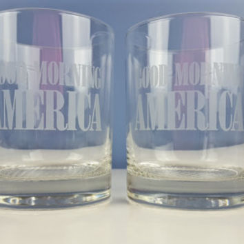 Vintage GMA ABC Good Morning America Glass Tumblers Set Cocktail Glasses Drinking Glasses Juice Cups News Memorabilia Collectible Barware