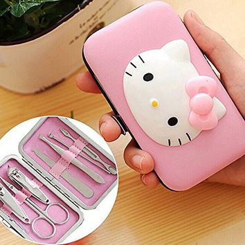 Yunko 7 Pieces Pink Kitty Stainless Nail Clippers Nipper Cutter Pedicure Manicure Set Kits Tools