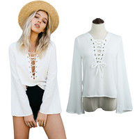 White Flare Sleeves Lace-Up Blouse