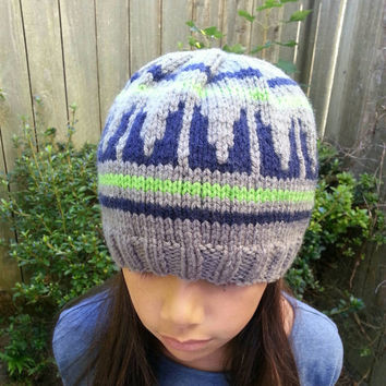 Seattle Seahawks 12th Man Inspired Hand Knit Beanie (Sizes: Child, Women, Men, XL)
