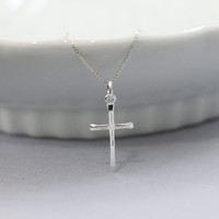 Silver Cross Necklace, Sterling Silver Cross Necklace, Tiny Cross Necklace, Sterling Silver Cross Pendant on Sterling Silver Necklace Chain