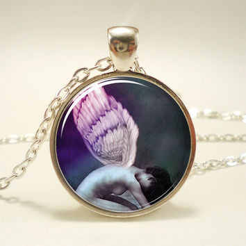 Angel Necklace Fantasy Pendant Colorful Jewelry by rainnua on Etsy