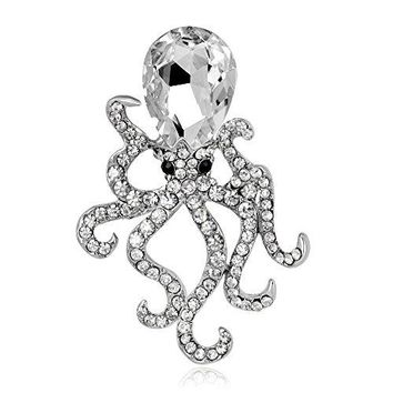 CHUYUN Octopus Crystal Rhinestones Brooches Pin Up Jewelry For Women Suit Hats Clips Bijoux Brooch