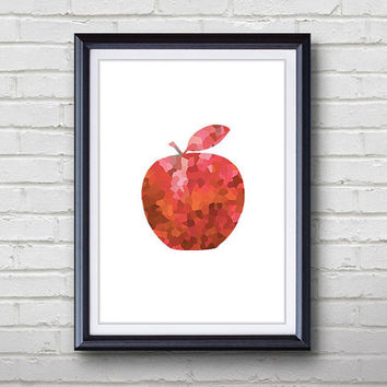 "Red Apple Fruit Art - A4 or 5""x7"" Print - Apple Art Print, Kitchen Decor, Wall Decor, Home Decor Housewares, House Warming Gift"