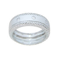 Men's Wedding Band Solid Sterling Silver Elegant and Hefty Design Available in sizes 9 to 12