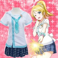 Love Live School Idol Project Ayase Eli Navy Sailor Suit School Uniform Dress Outfit Anime Cosplay Costumes