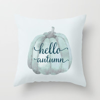 hello autumn blue pumpkin Metal Print by Sylvia Cook Photography