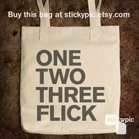 Cotton Tote Bag - One, two, Three, Flick - One Direction - (Accessories Laptop Bag PC Apple Macbook Mac Geekery)
