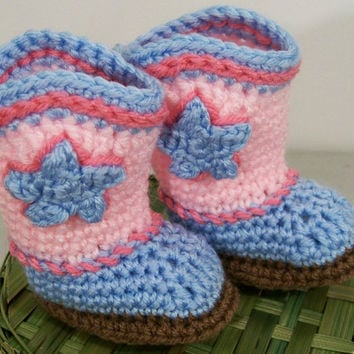 Baby Girl Cowboy Boots-Pink and Blue Crochet--#167