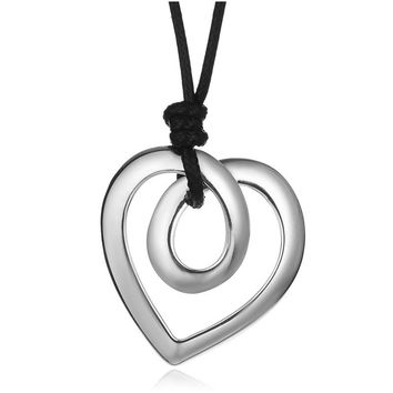 Brighton Unique PU Leather Chain Long Necklace Vintage Silver Color Drawing Love Heart Necklace Pendant Women Statement Jewelry
