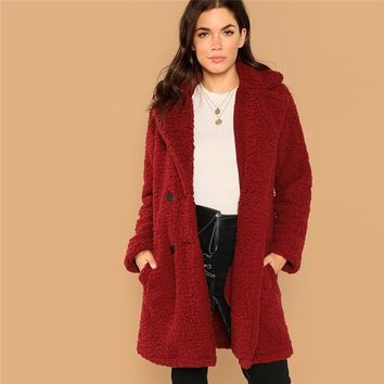 Burgundy Casual Solid Notched Pocket Double Button Teddy Coat