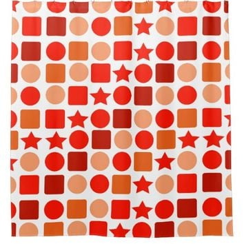 Bright Red-Orange Geometrics Shower Curtain