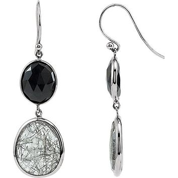 Sterling Silver Black Onyx & Tourmalinated Quartz Long Dangle Earrings